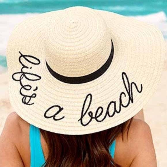 e130035b420 Life s A Beach Floppy Wide Brim Sun Straw Hat